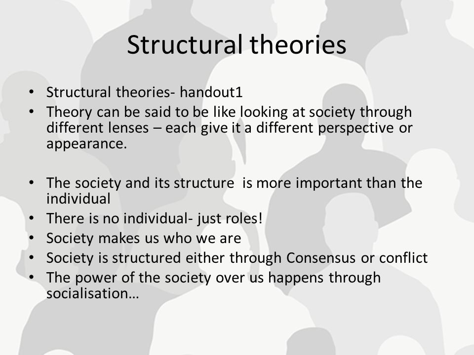structural theories The family structural theory provides a method in which a nurse is able to identify how family members interact with one another to establish a baseline.