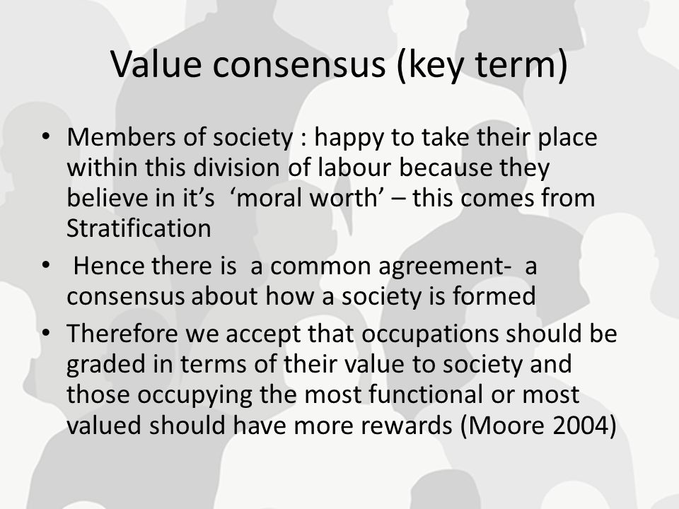 Value consensus (key term)