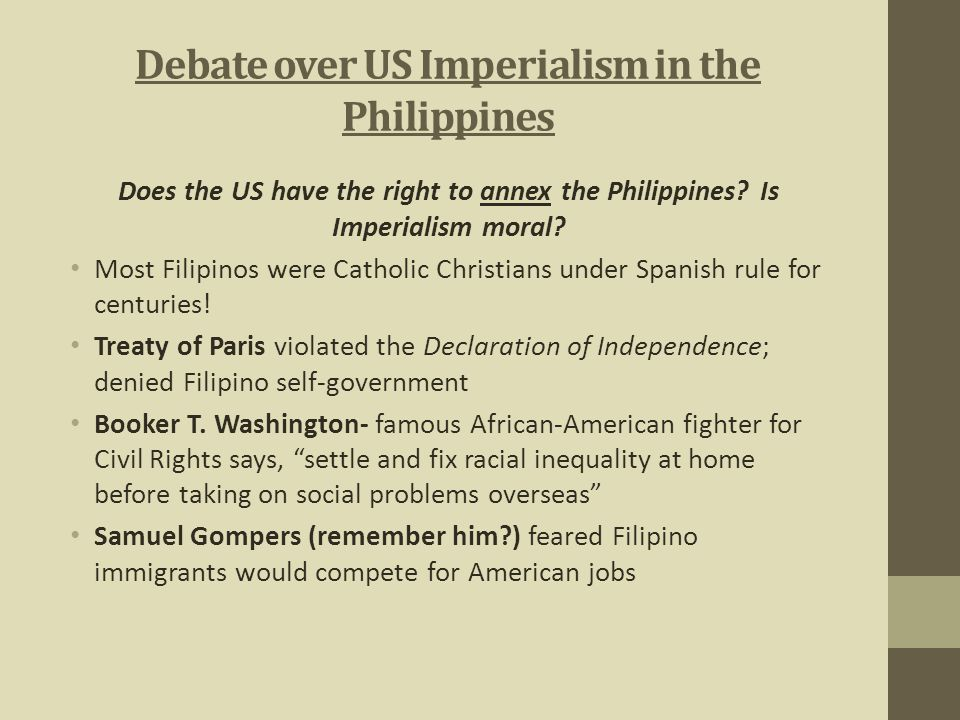 Debate over US Imperialism in the Philippines