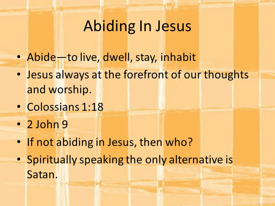 Abiding In Jesus Abide—to live, dwell, stay, inhabit