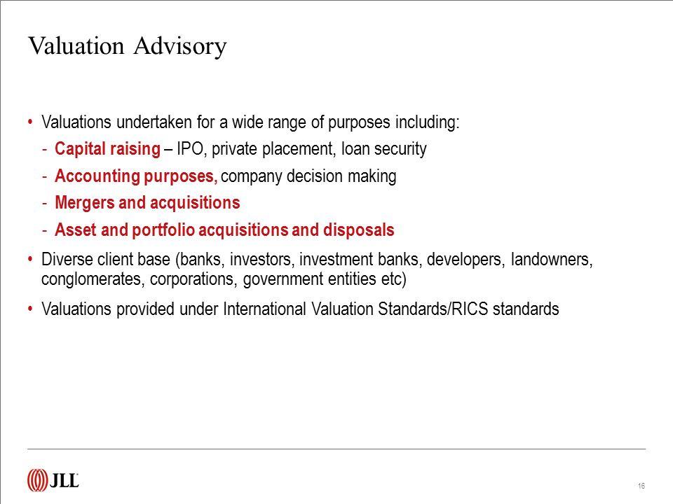 Valuation Advisory Track Record
