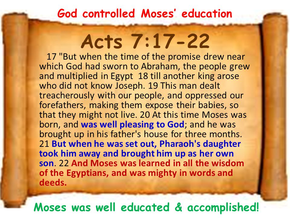 Acts 7:17-22 God controlled Moses' education