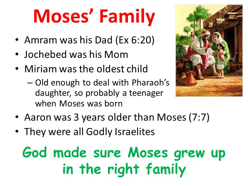 God made sure Moses grew up in the right family