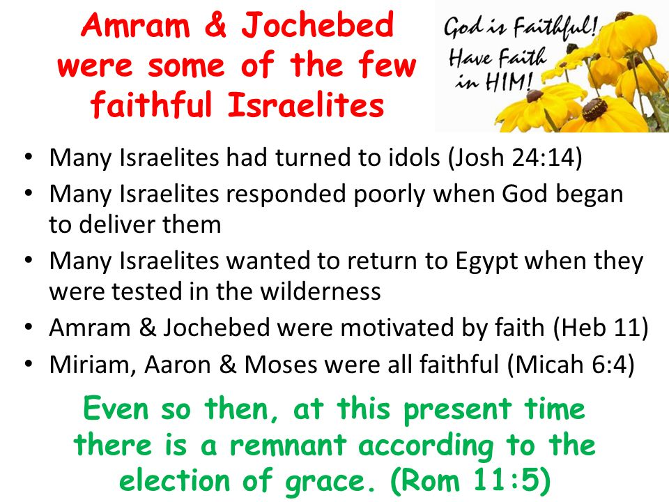 Amram & Jochebed were some of the few faithful Israelites