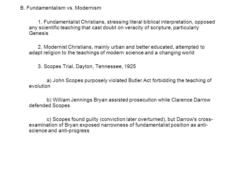 B. Fundamentalism vs. Modernism