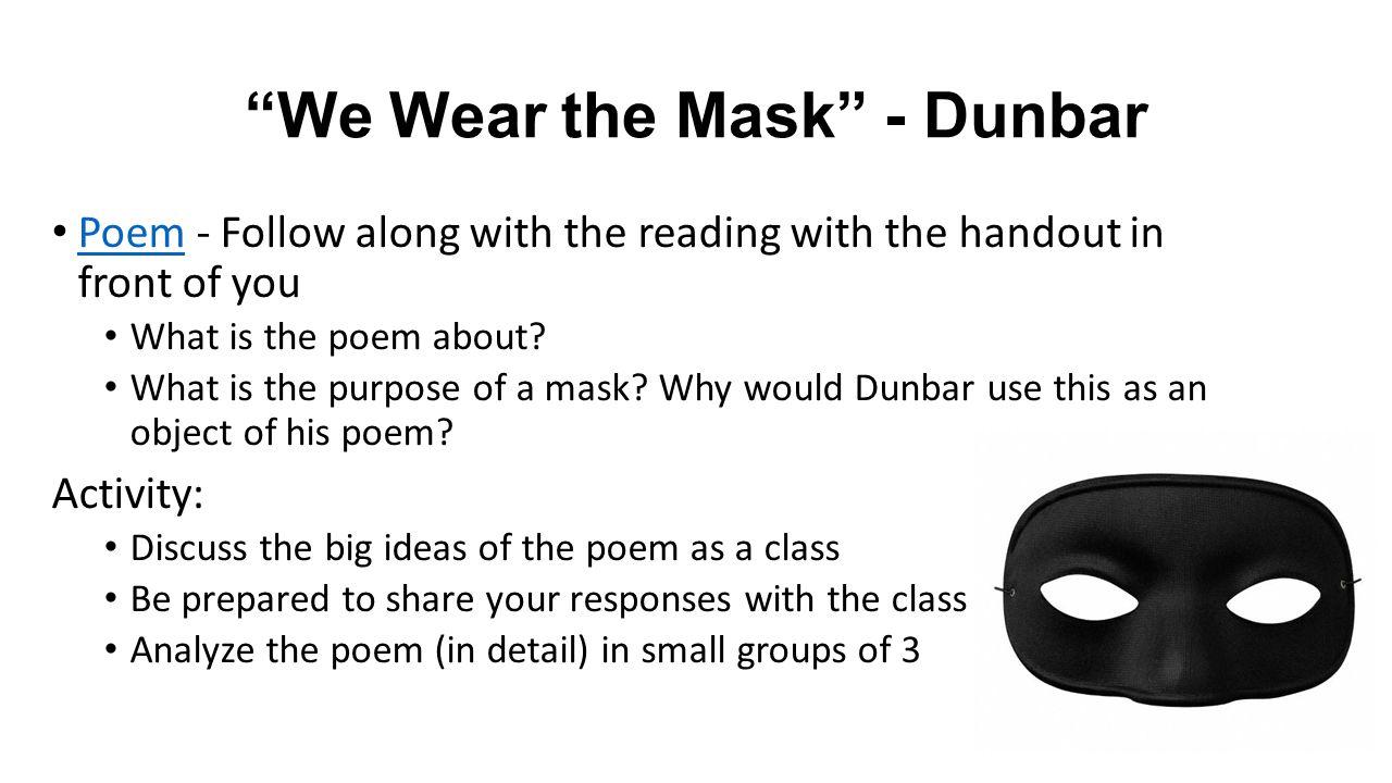 We Wear the Mask - Dunbar