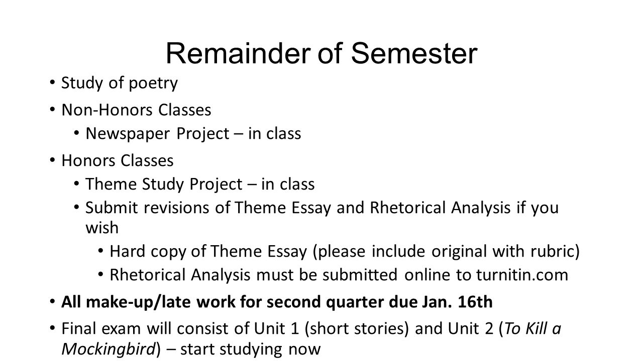 Remainder of Semester Study of poetry Non-Honors Classes