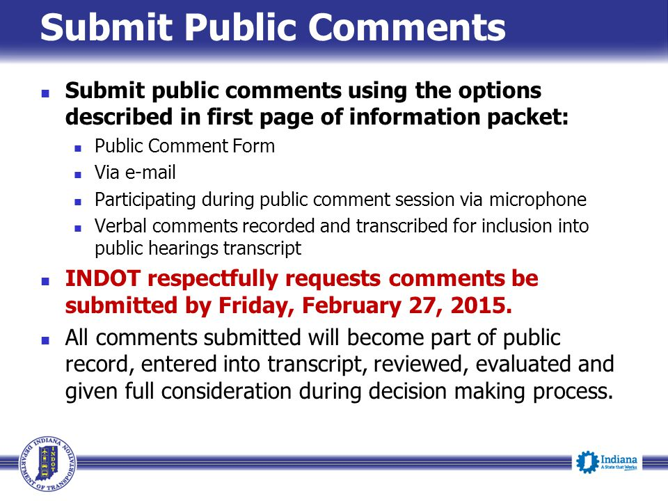 Submit Public Comments