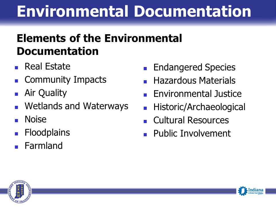 Elements of the Environmental Documentation