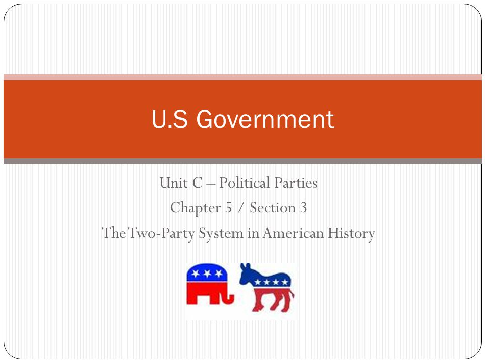U.S Government Unit C – Political Parties Chapter 5 / Section 3