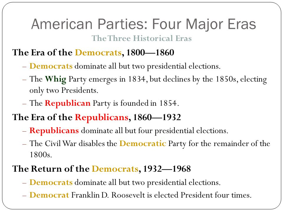American Parties: Four Major Eras