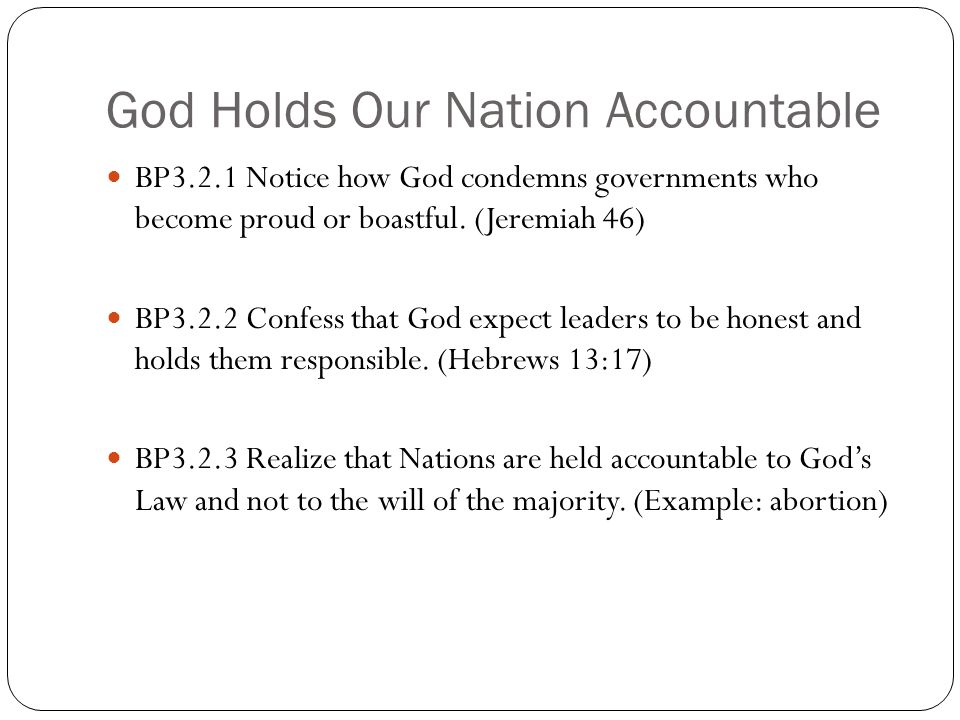God Holds Our Nation Accountable