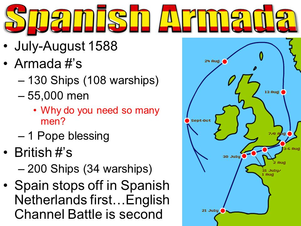 Spanish Armada July-August 1588 Armada #'s British #'s