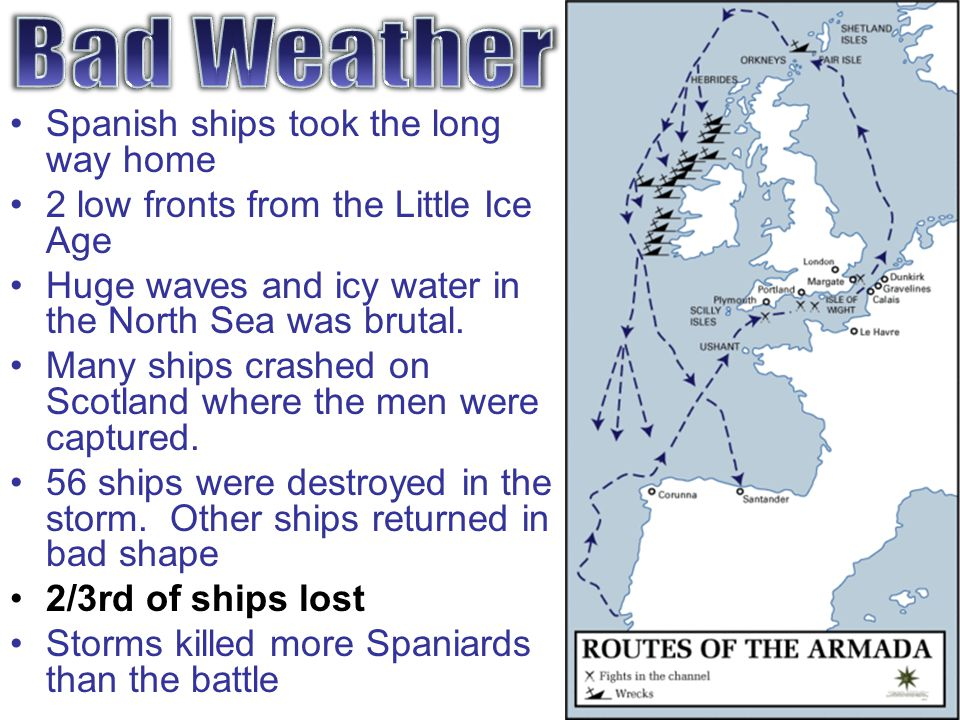 Bad Weather Spanish ships took the long way home