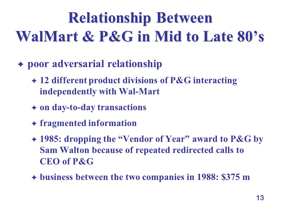 Relationship Between WalMart & P&G in Mid to Late 80's