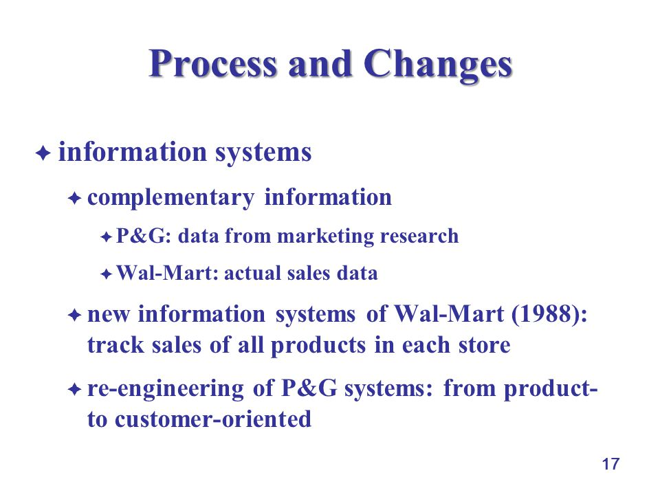 Process and Changes information systems complementary information