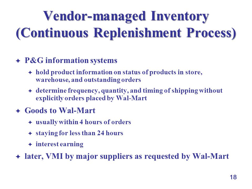 Vendor-managed Inventory (Continuous Replenishment Process)