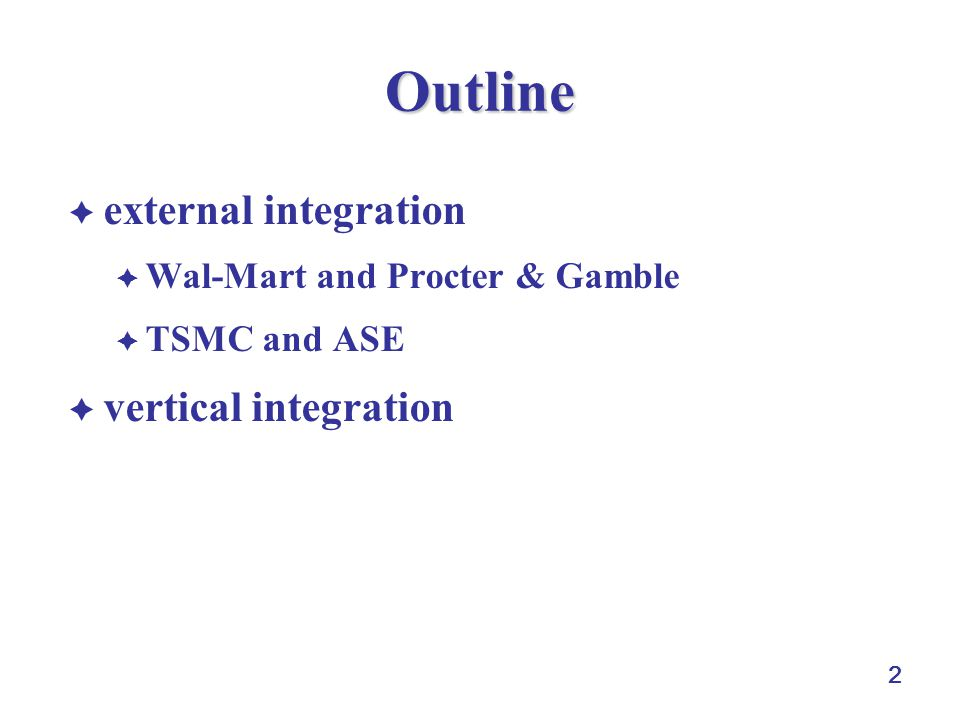 Outline external integration vertical integration