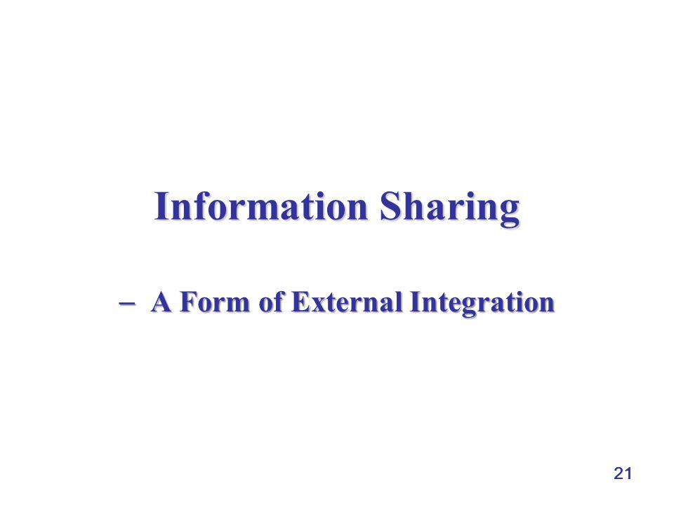  A Form of External Integration