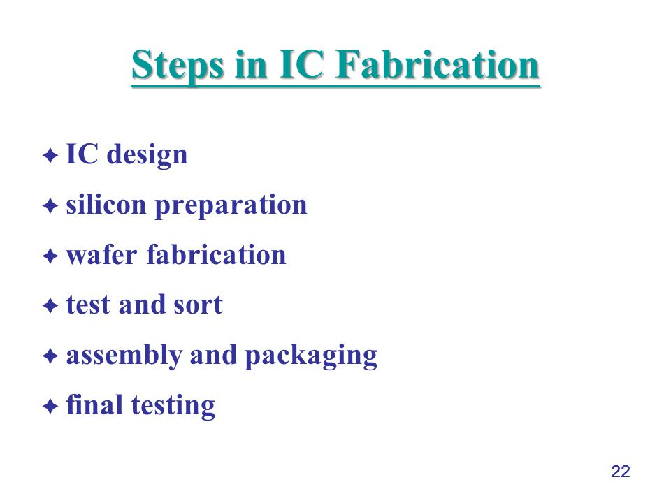 Steps in IC Fabrication