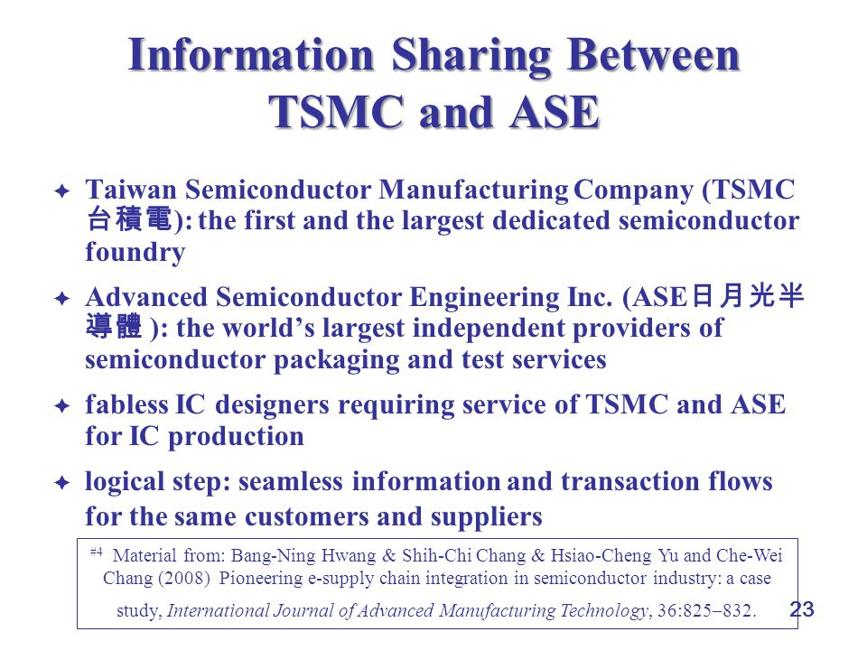 Information Sharing Between TSMC and ASE