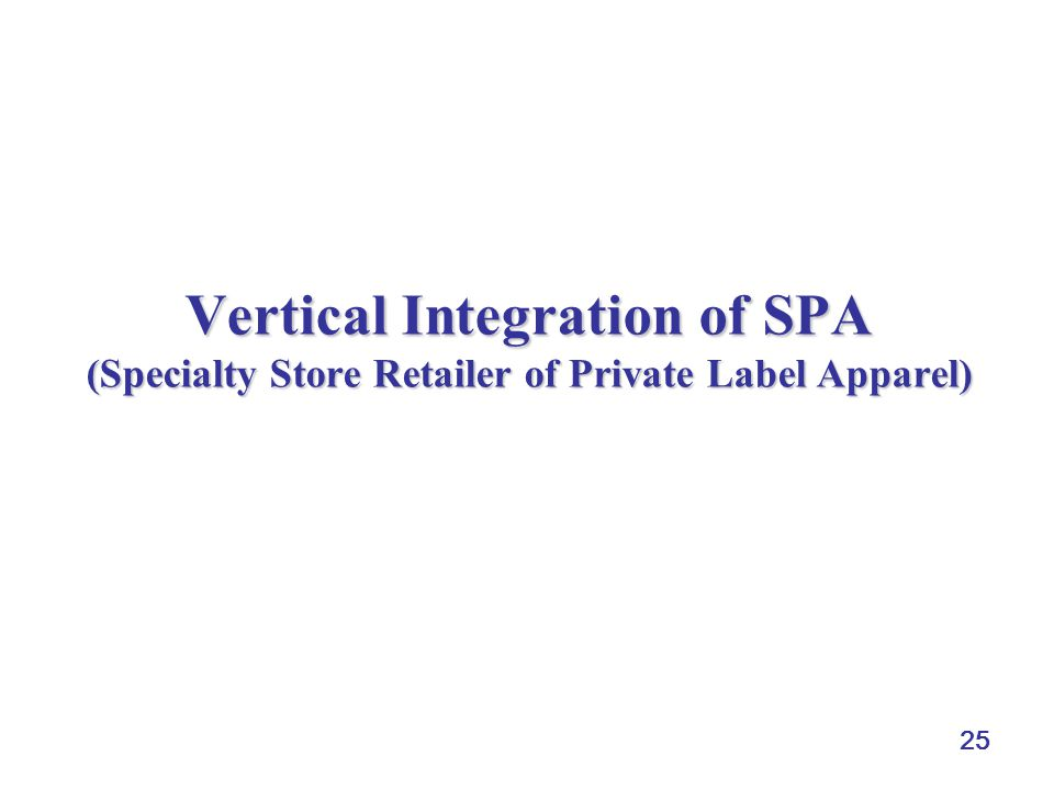 Vertical Integration of SPA (Specialty Store Retailer of Private Label Apparel)