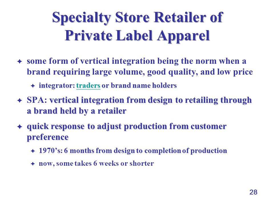 Specialty Store Retailer of Private Label Apparel