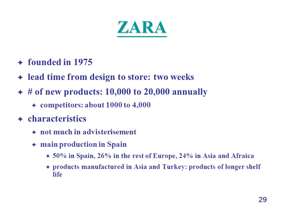 ZARA founded in 1975 lead time from design to store: two weeks