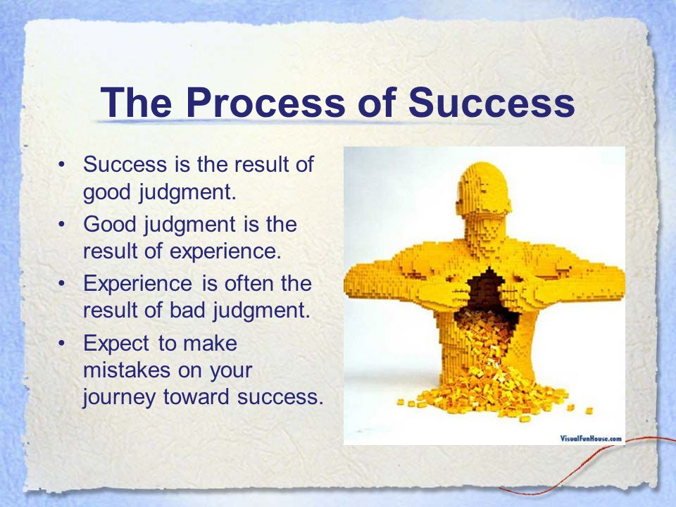 The Process of Success Success is the result of good judgment.