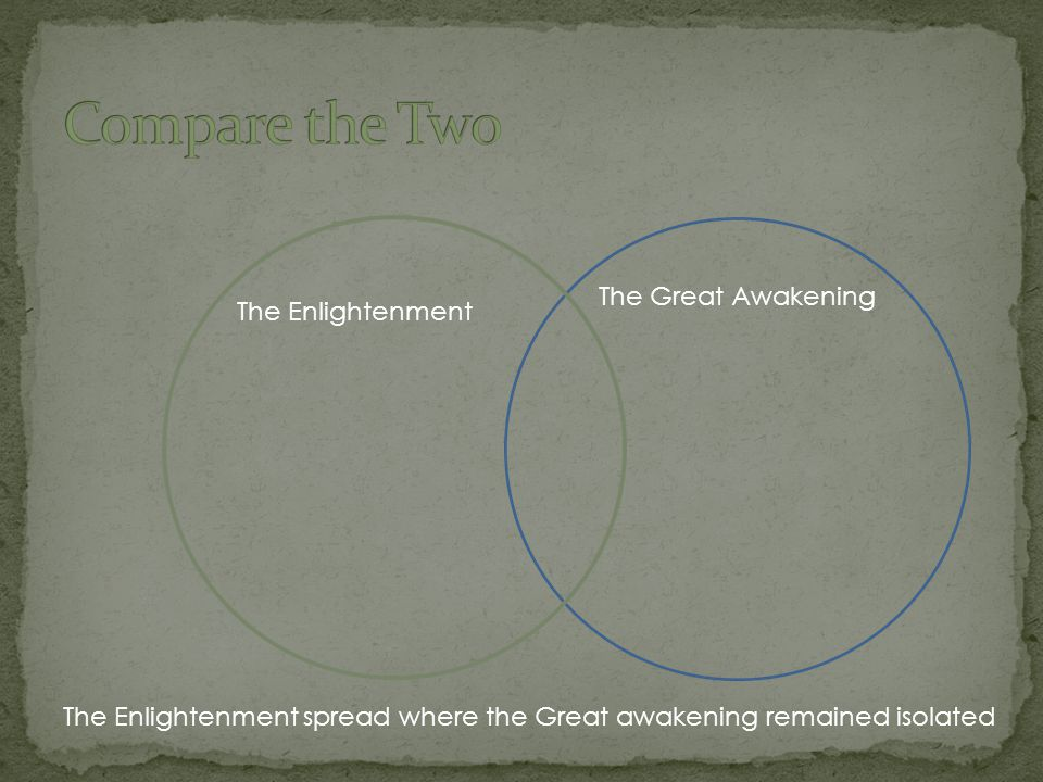 Compare the Two The Great Awakening The Enlightenment