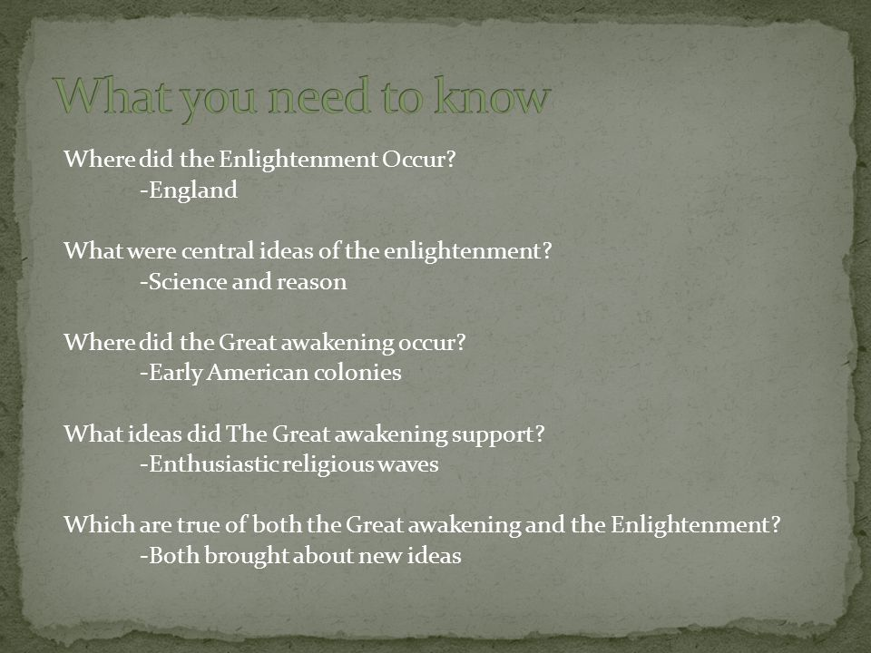 What you need to know Where did the Enlightenment Occur -England