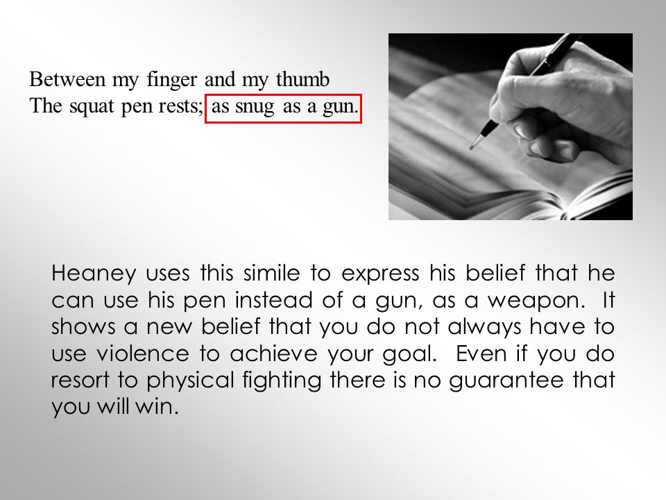 Between my finger and my thumb The squat pen rests; as snug as a gun.