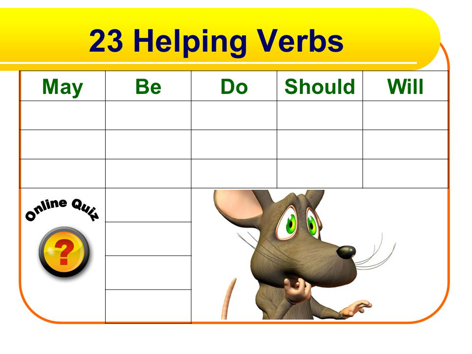 23 Helping Verbs May Be Do Should Will Online Quiz