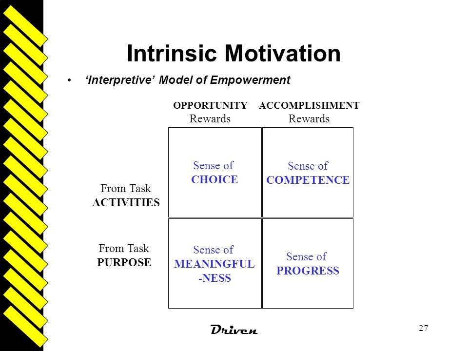 Intrinsic Motivation Driven 'Interpretive' Model of Empowerment