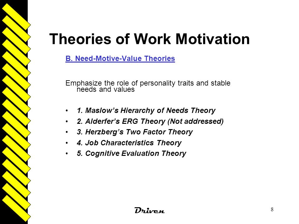 evaluate motivation theories Since the great depression there have been many studies, hypotheses and theories on the subject of human motivation the first of its kind to be applied to the workforce was maslow's hierarchy of needs, which is a theory still.