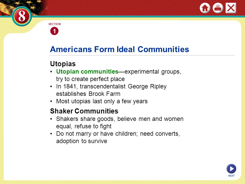 Americans Form Ideal Communities