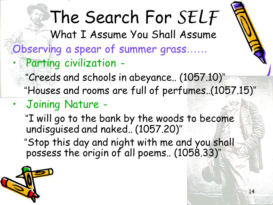 The Search For SELF What I Assume You Shall Assume