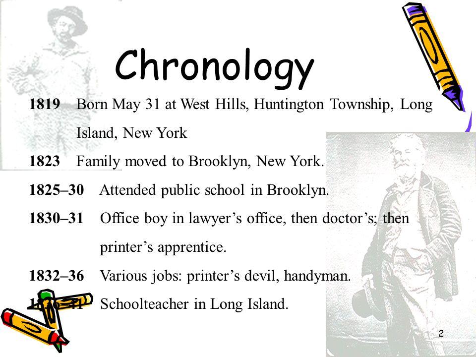Chronology 1819 Born May 31 at West Hills, Huntington Township, Long