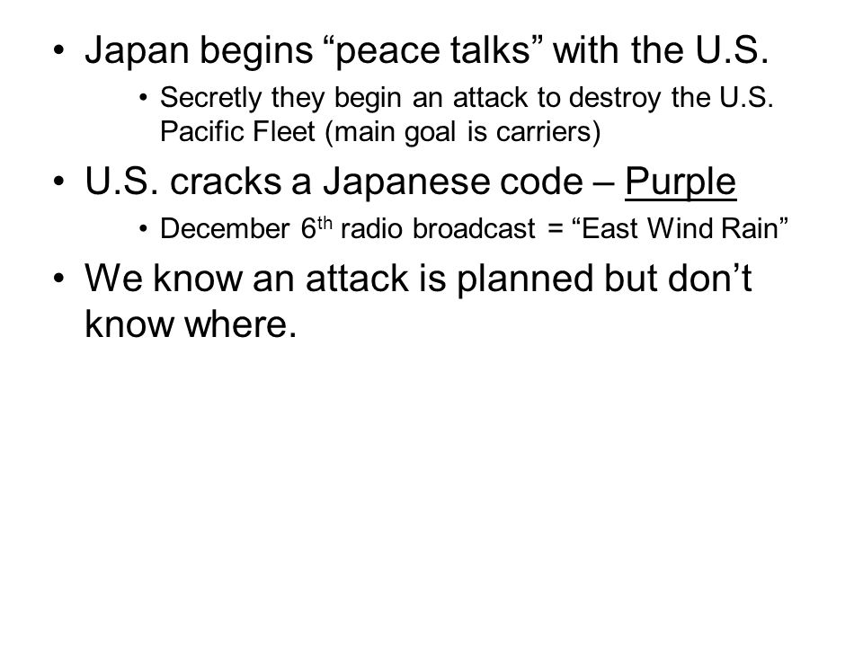Japan begins peace talks with the U.S.
