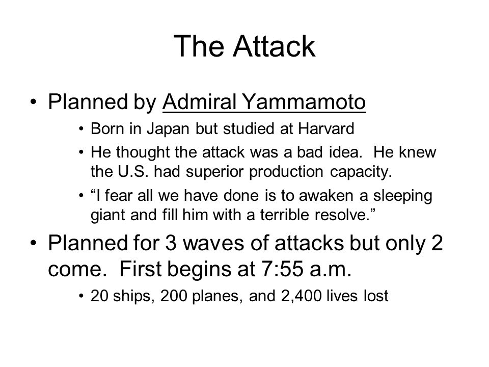The Attack Planned by Admiral Yammamoto