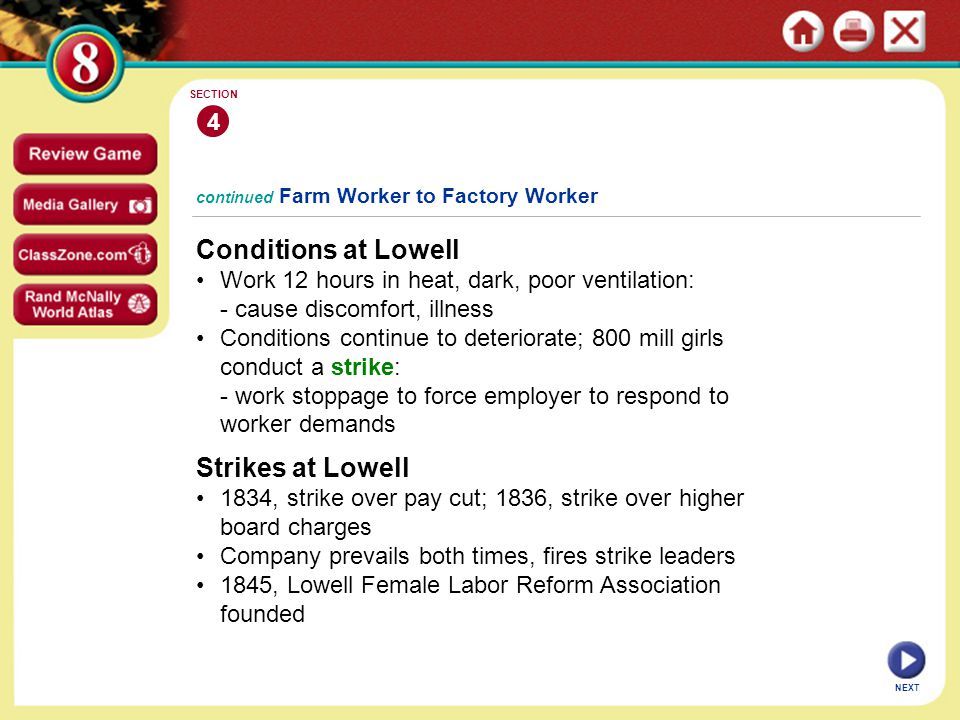 Conditions at Lowell Strikes at Lowell 4