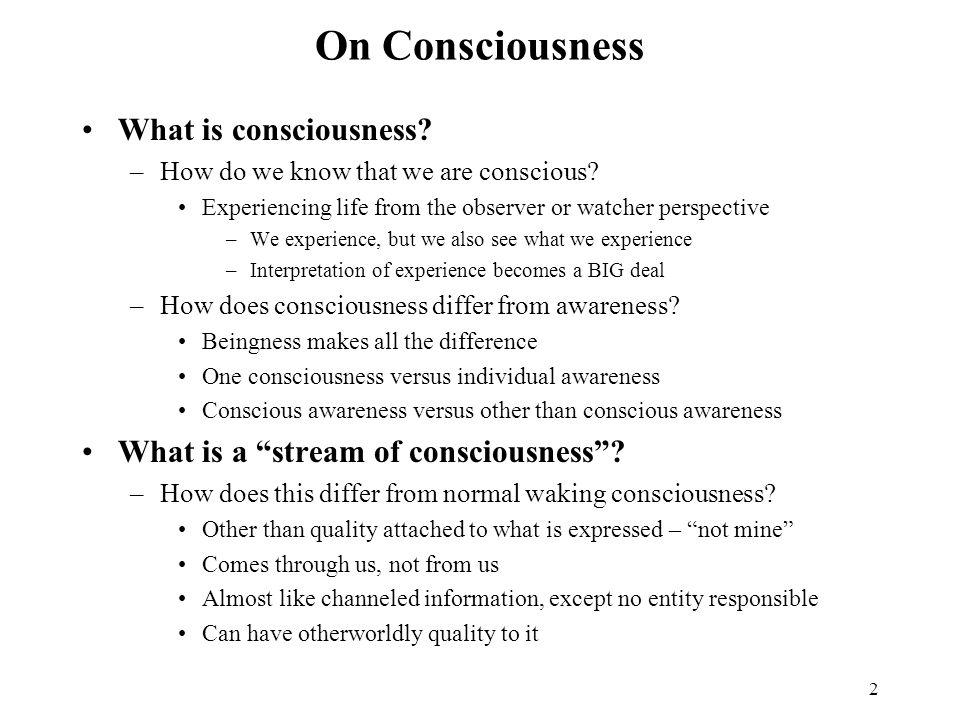 On Consciousness What is consciousness