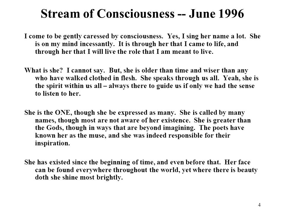 Stream of Consciousness -- June 1996
