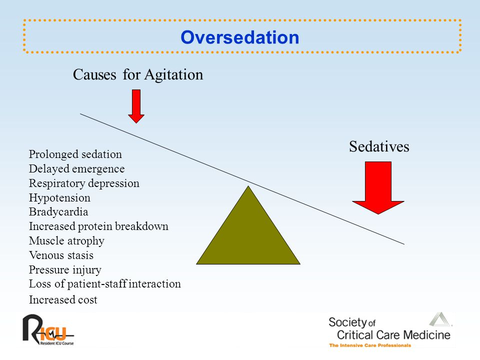 Oversedation Causes for Agitation Sedatives Prolonged sedation