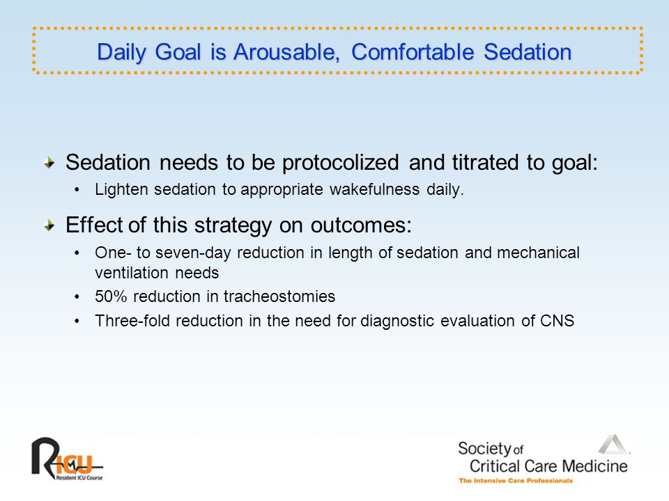 Daily Goal is Arousable, Comfortable Sedation