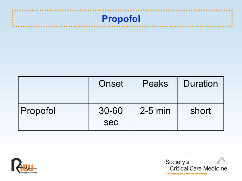 Propofol Onset Peaks Duration Propofol 30-60 sec 2-5 min short