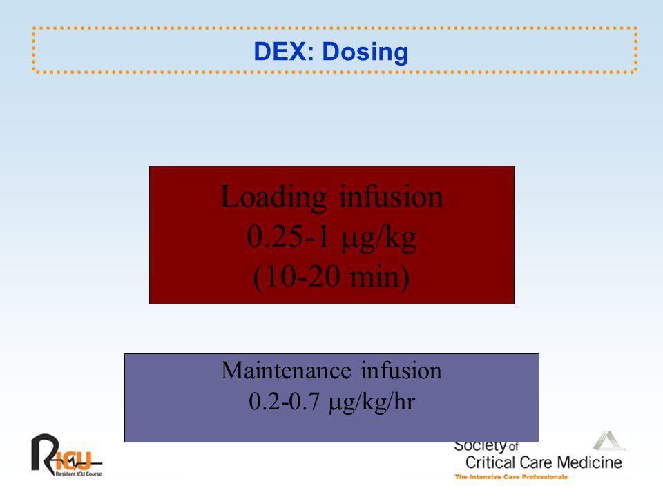 Loading infusion 0.25-1 g/kg (10-20 min) DEX: Dosing