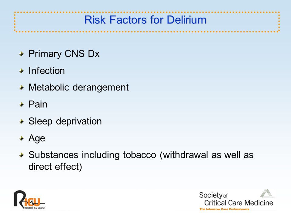 Risk Factors for Delirium