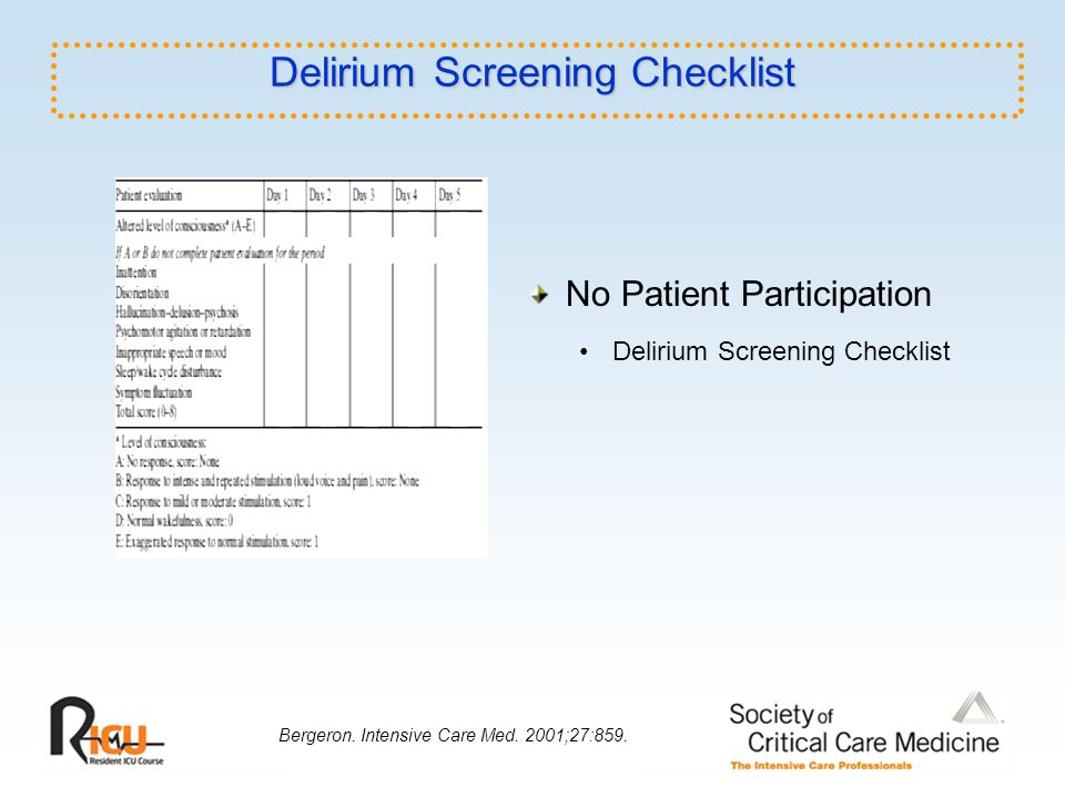 Delirium Screening Checklist