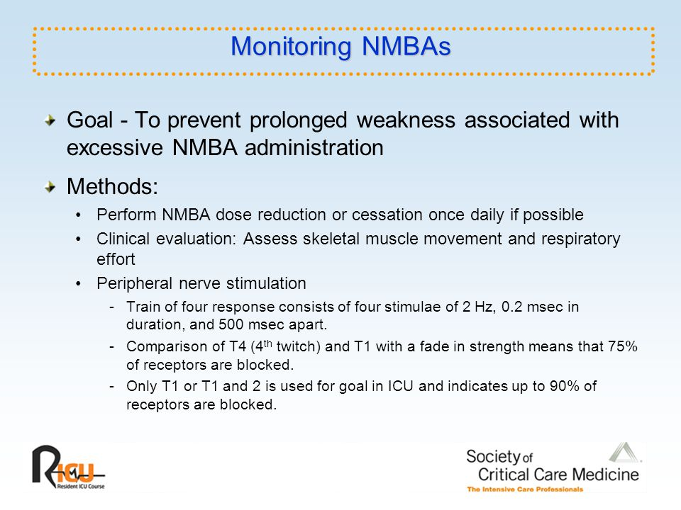 Monitoring NMBAs Goal - To prevent prolonged weakness associated with excessive NMBA administration.